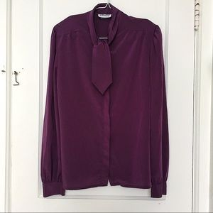 VINTAGE Purple Neck Scarf Long Sleeve Blouse